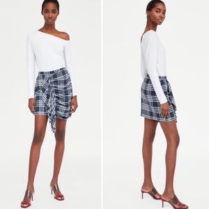 Zara Women Plaid Gathered Ruffle Mini Skirt